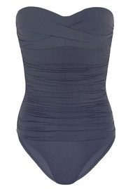 HEIDI KLEIN Cannes Ruched Bandeau Control One Piece - Navy
