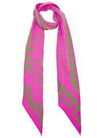 ROCKINS Super Skinny Silk Scarf - Giraffe Pink