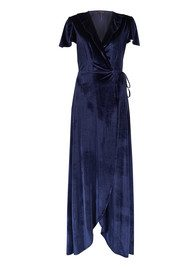Jovina Velvet Wrap Dress - Navy