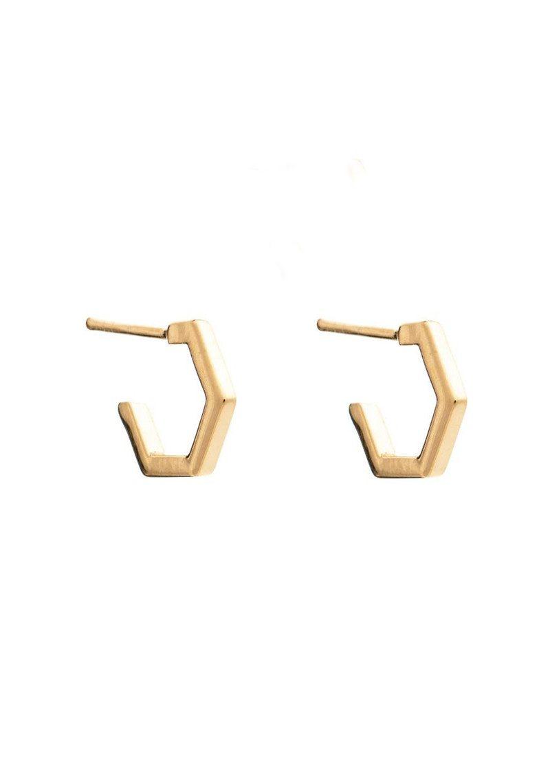 RACHEL JACKSON Serenity Mini Hexagon Hoop Earrings - Gold main image