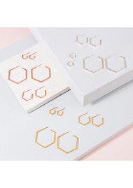 RACHEL JACKSON Serenity Mini Hexagon Hoop Earrings - Silver
