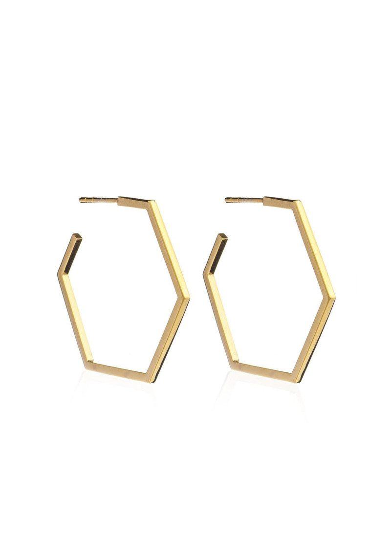 RACHEL JACKSON Serenity Large Hexagon Hoop Earrings - Gold main image