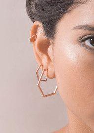 RACHEL JACKSON Serenity Large Hexagon Hoop Earrings - Rose Gold