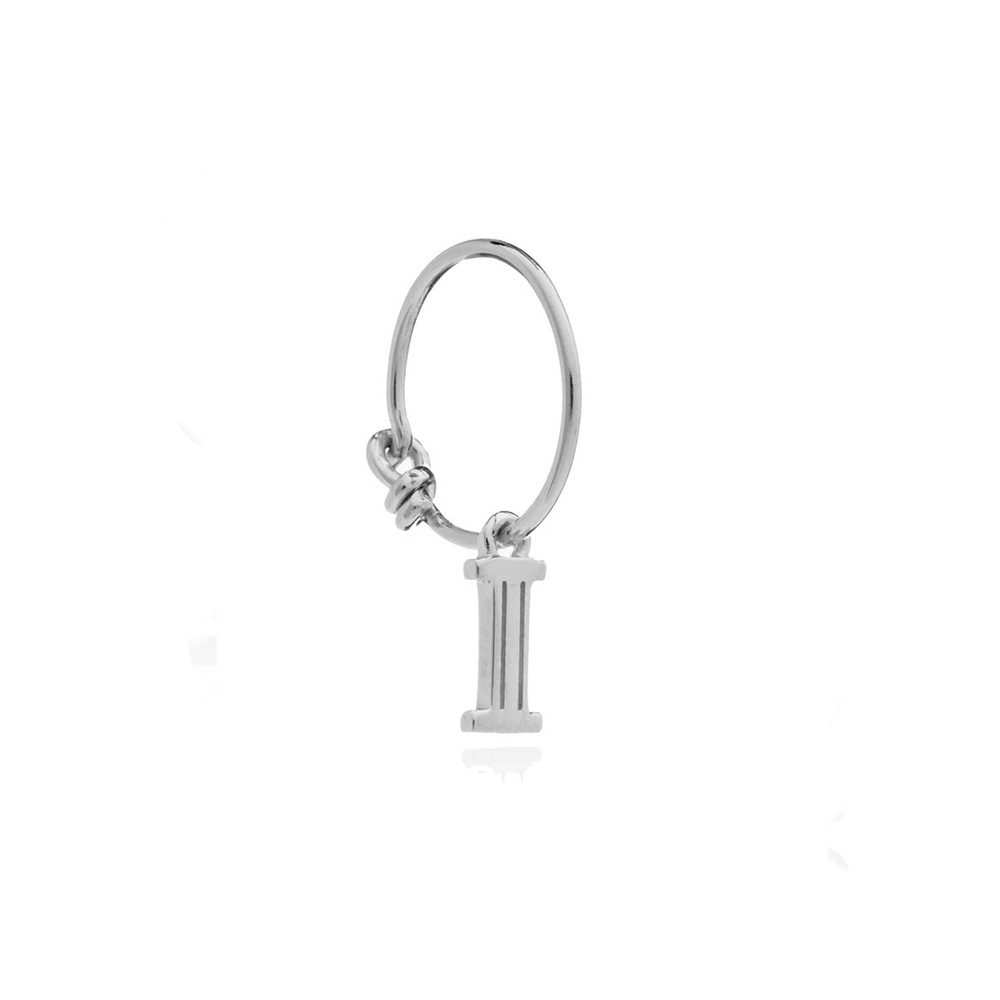 This is Me Silver Mini Hoop Earring - Letter I