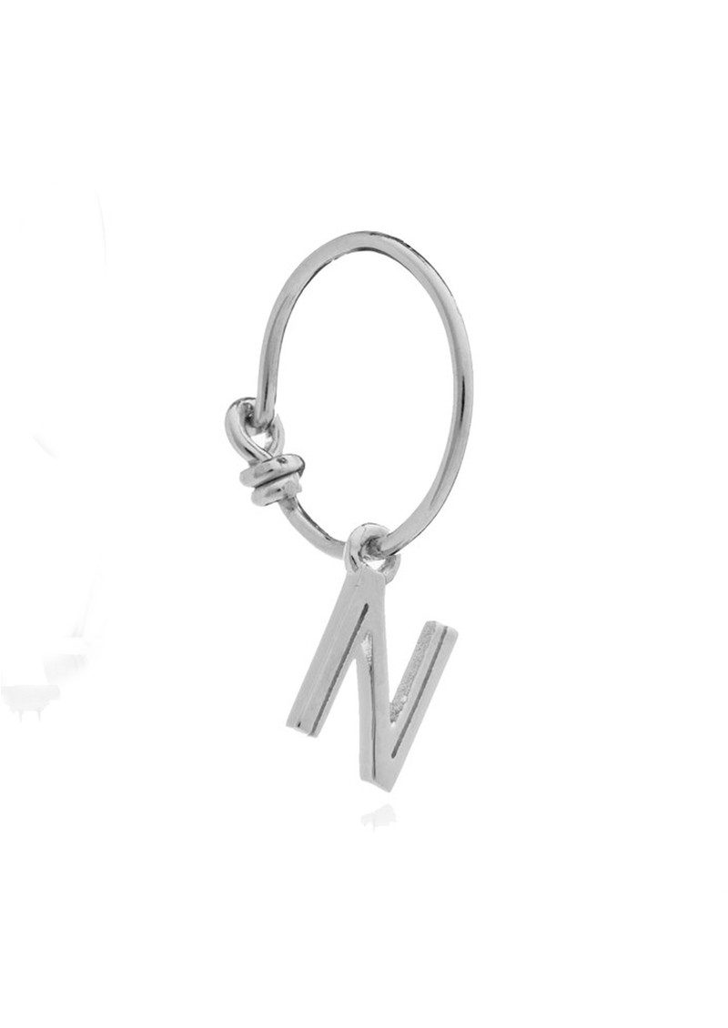 RACHEL JACKSON This is Me Silver Mini Hoop Earring - Letter N main image