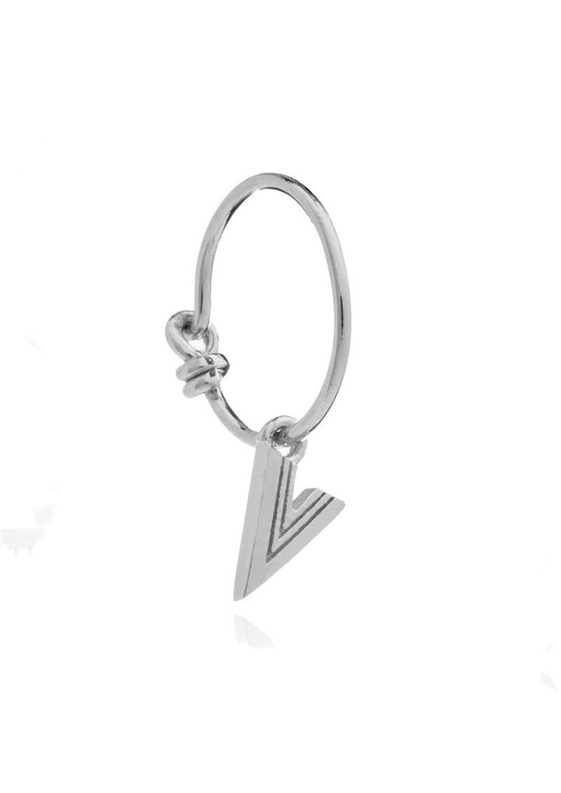 This is Me Silver Mini Hoop Earring - Letter V main image