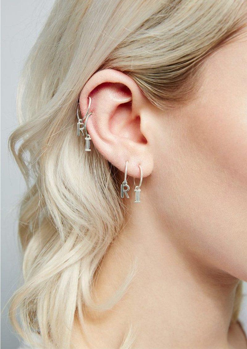RACHEL JACKSON This is Me Silver Mini Hoop Earring - Letter U main image