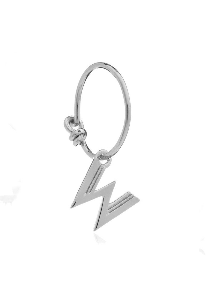 RACHEL JACKSON This is Me Silver Mini Hoop Earring - Letter W main image