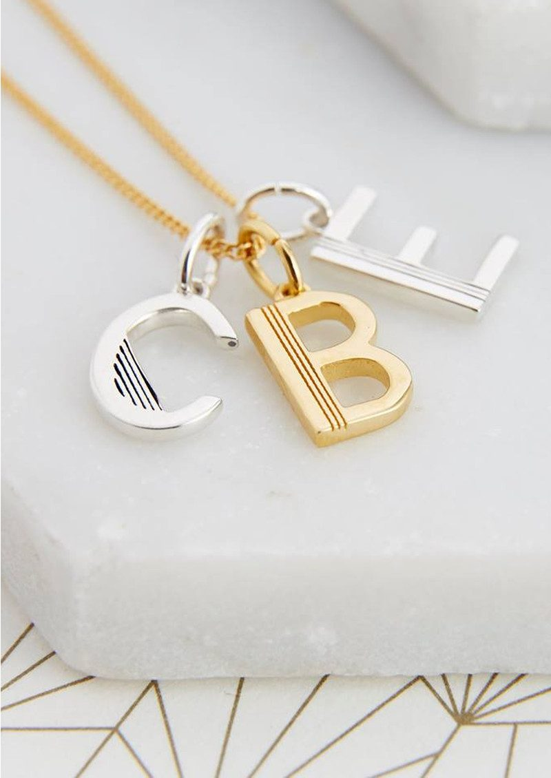 This Is Me 'U' Alphabet Necklace - Silver main image