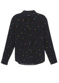 Rails Kate Silk Shirt - Rainbow Stars on Black