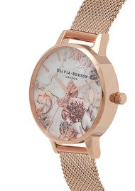 Olivia Burton Marble Floral Midi Mesh Watch - Rose Gold