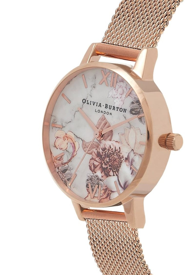 Marble Floral Midi Mesh Watch - Rose Gold main image