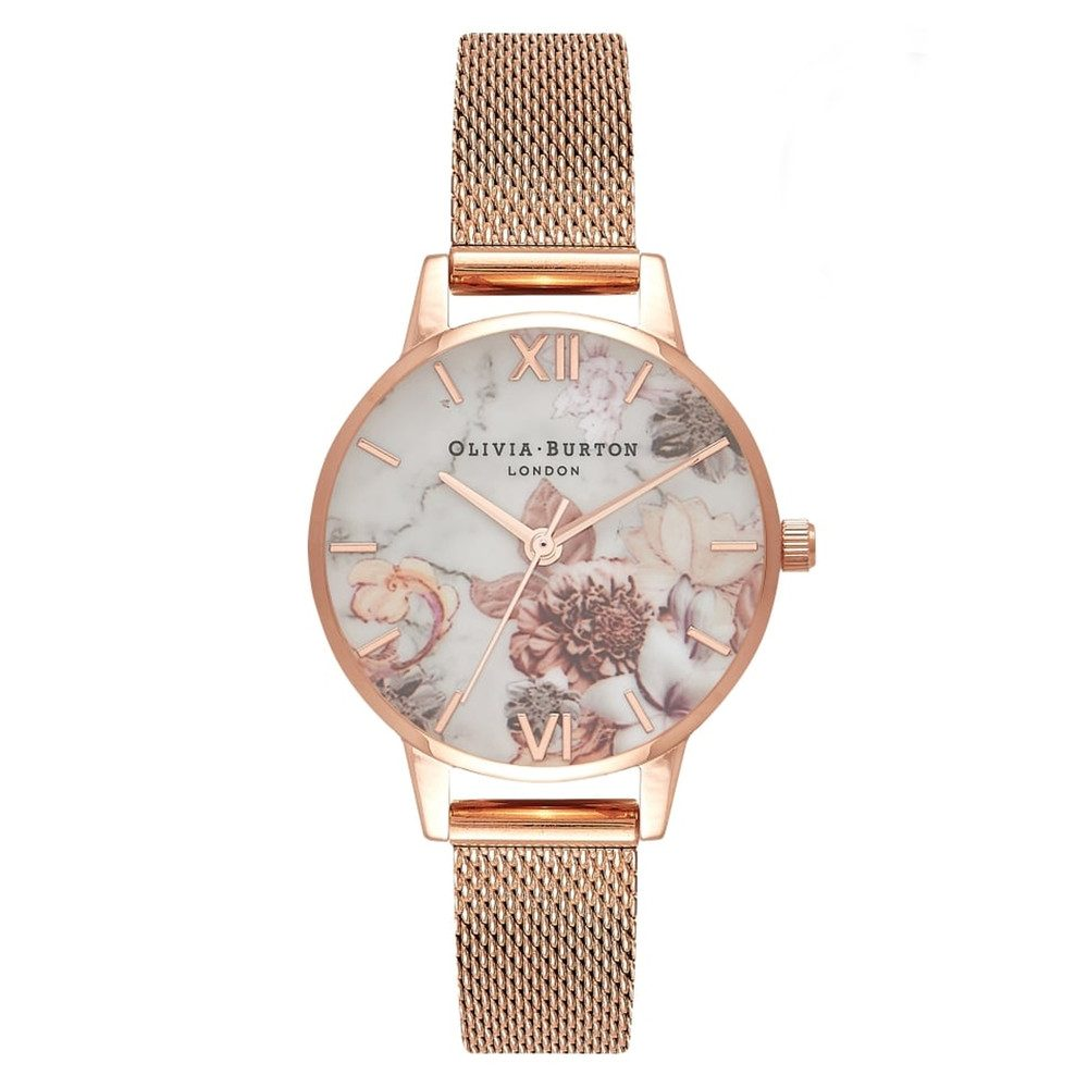 Marble Floral Midi Mesh Watch - Rose Gold