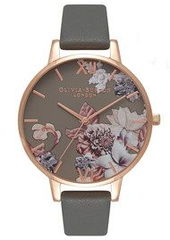 Olivia Burton Marble Floral Watch - Dark Grey & Rose Gold