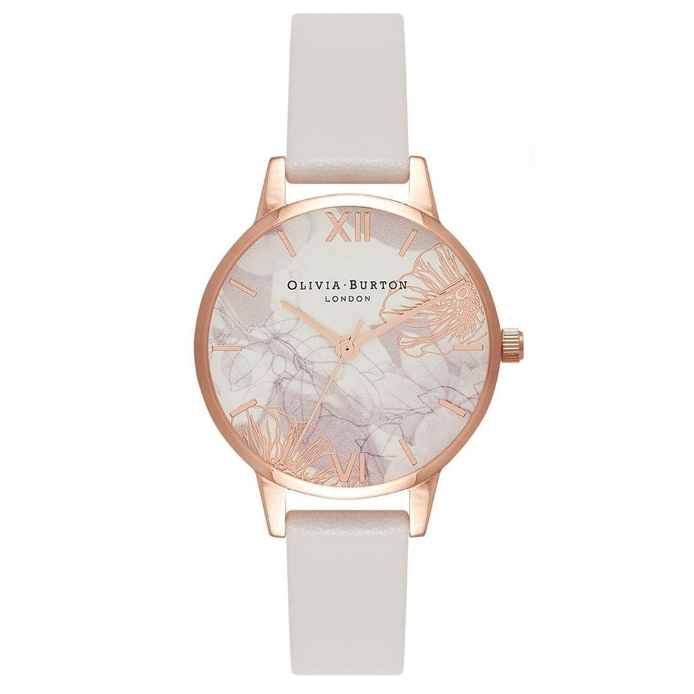 Abstract Florals Midi Watch - Blush & Rose Gold