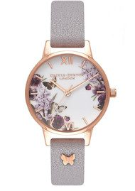Olivia Burton Enchanted Garden 3D Embellished Strap Watch - Grey Lilac & Rose Gold