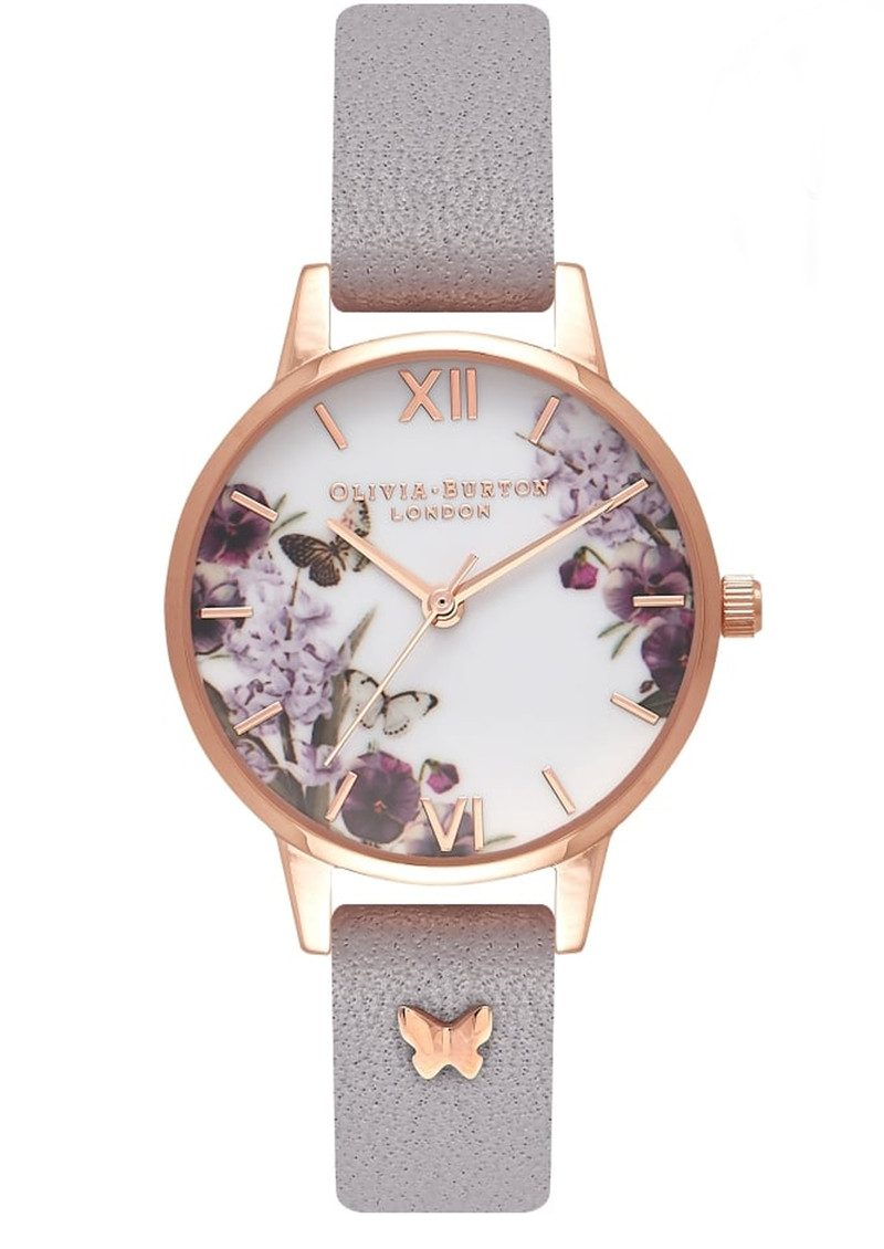 Enchanted Garden 3D Embellished Strap Watch - Grey Lilac & Rose Gold main image