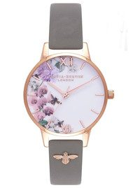 Olivia Burton Enchanted Garden 3D Embellished Strap Watch - London Grey & Rose Gold