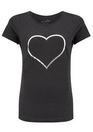 ON THE RISE Heart Outline Tee - Black & Silver