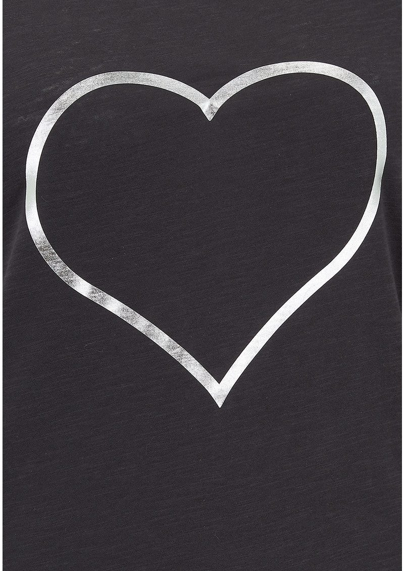 on the rise heart outline tee black u0026 silver