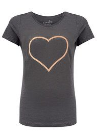 ON THE RISE Heart Outline Tee - Grey & Rose Gold