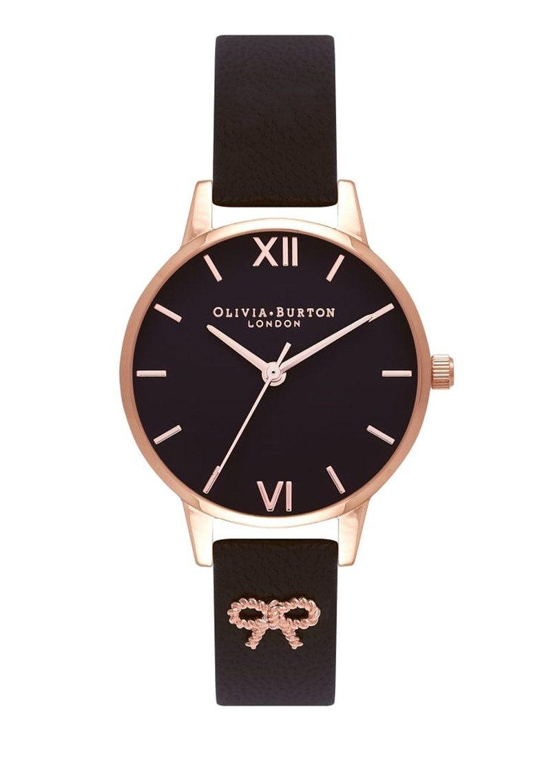 461e6eae743 Olivia Burton Vintage Bow Embellished Strap - Black and Rosegold main image  ...