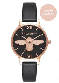 Olivia Burton Vegan Friendly Midi 3D Bee Watch - Black & Rose Gold