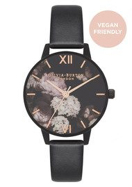 Olivia Burton Vegan Friendly After Dark Midi Floral Watch - Black & IP Black