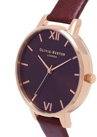Olivia Burton Big Dial Chocolate Dial Watch - Burgundy & Rose Gold