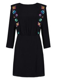 RIXO London Beth Embroidery Dress - Black