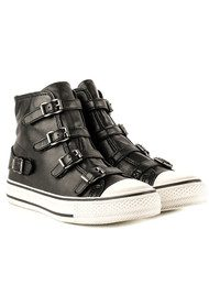Ash Virgin Leather Buckle Trainers - Black & Antic Gun