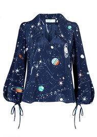 RIXO London Lyla Blouse - Cosmic Constellation