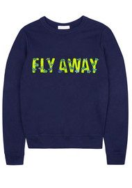 UZMA BOZAI 'Fly Away' Embellished Sweatshirt - Navy