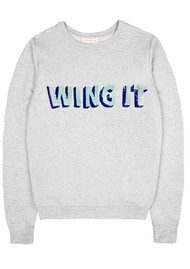 UZMA BOZAI 'Wing It' Embellished Sweatshirt - Grey Marl