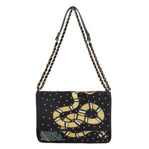 Broma Snake Embellished Velvet Bag - Black