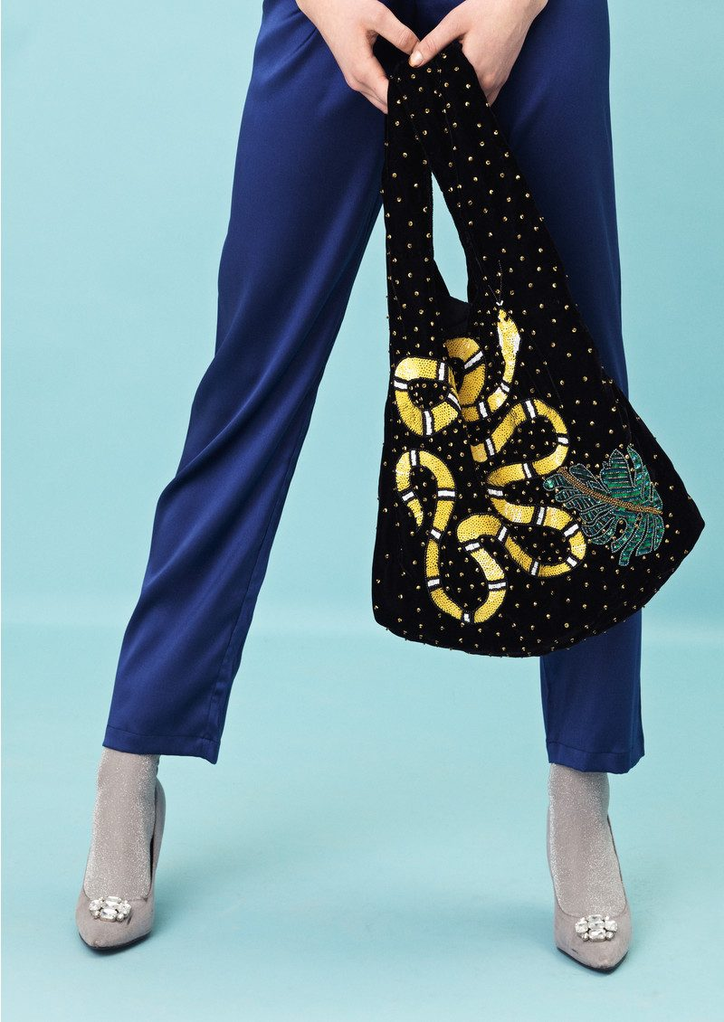 Ellia Snake Embellished Velvet Bag - Black main image