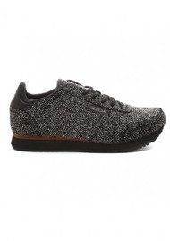 WODEN YDUN PEARL TRAINERS - BLACK AND SILVER