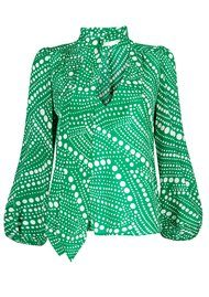 RIXO London Kate Silk Blouse - Green Psychedelic Spot