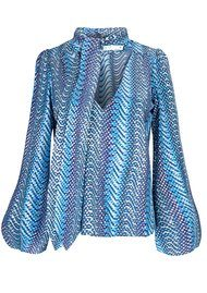 RIXO London Pre Order Kate Silk Blouse - Blue Psych Wave