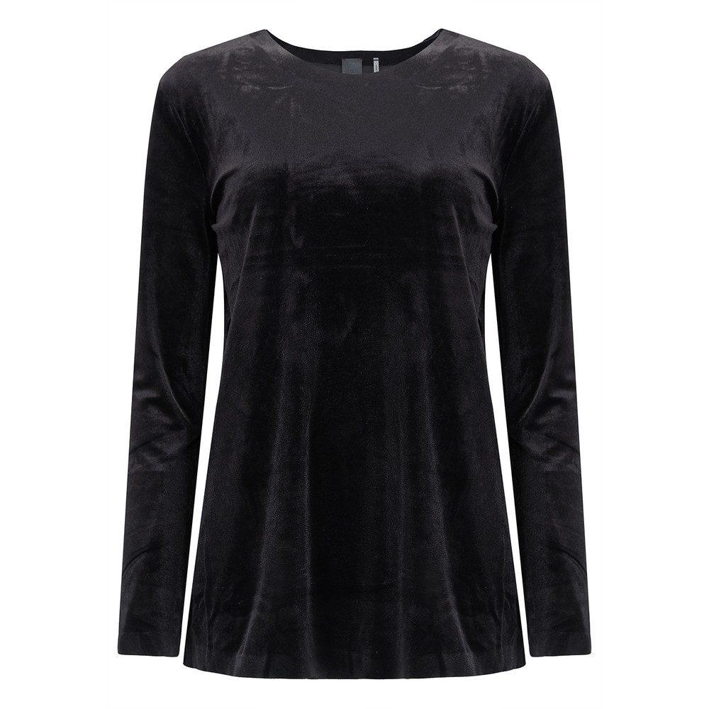 Tara Long Sleeve Velvet Top - Black