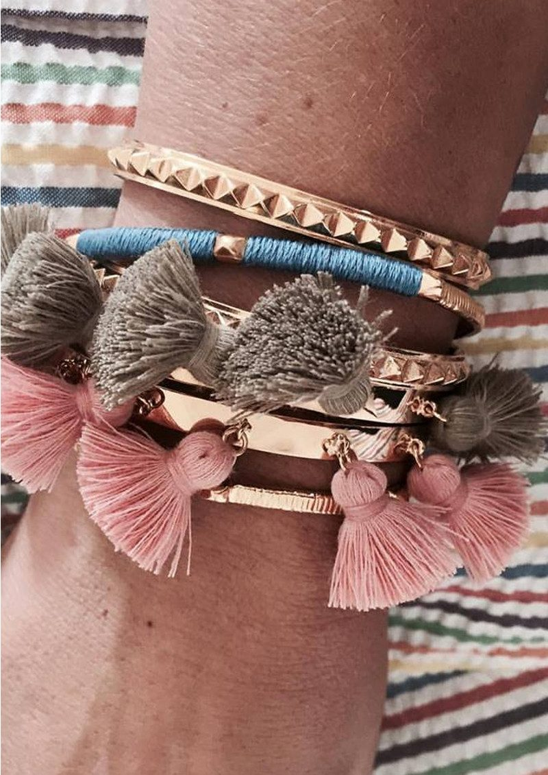 Raquel Tassel Bangle - Salmon main image