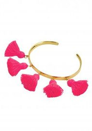 MARTE FRISNES JEWELLERY Raquel Tassel Bangle - Hot Pink