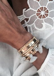 MARTE FRISNES JEWELLERY Raquel Tassel Bangle - Navy