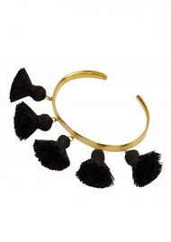 MARTE FRISNES JEWELLERY Raquel Tassel Bangle - Black