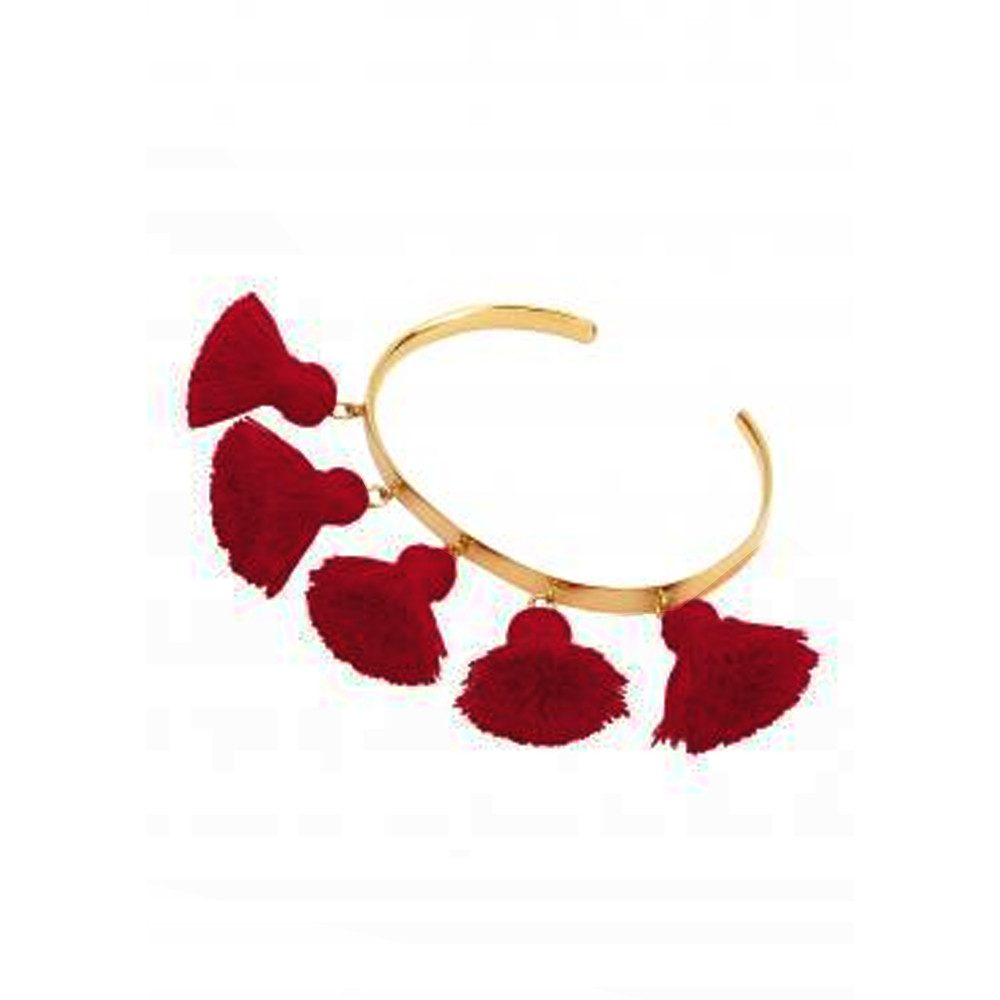 Raquel Tassel Bangle - Burgundy