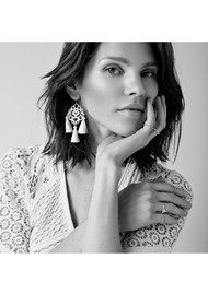 MARTE FRISNES JEWELLERY Rita Tassel Earrings - Black