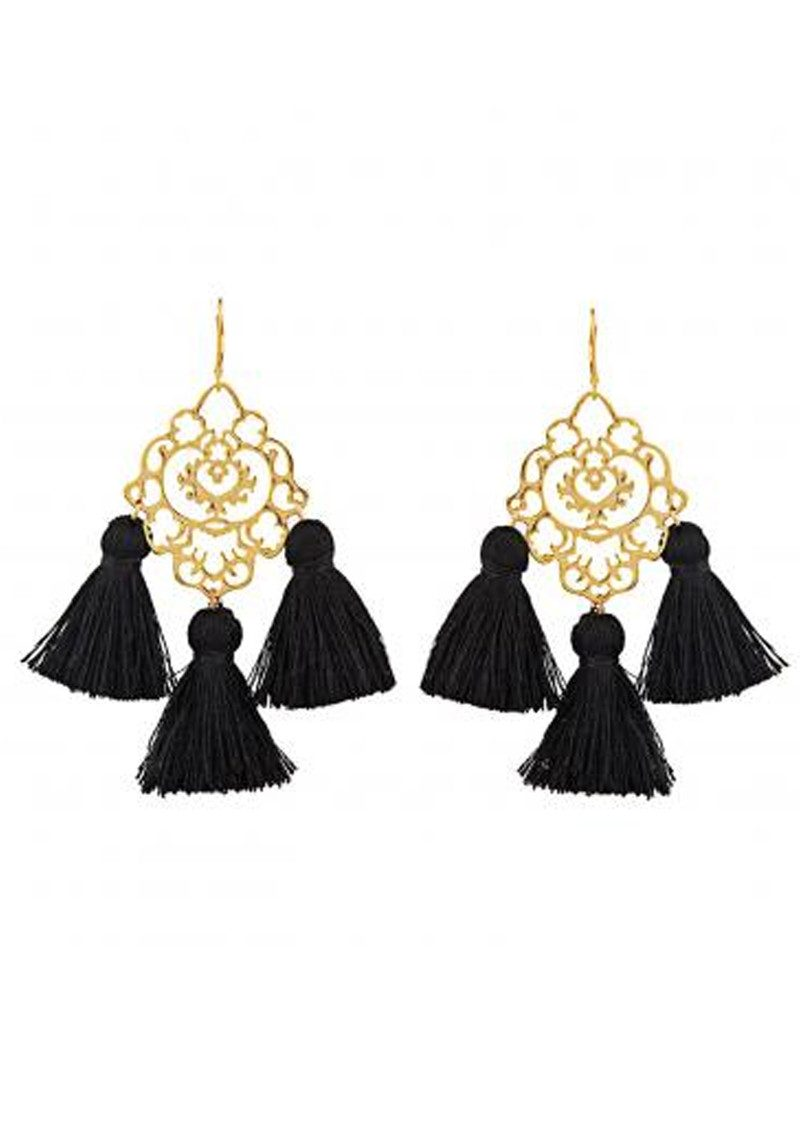 MARTE FRISNES JEWELLERY Rita Tassel Earrings - Black main image