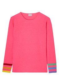ORWELL + AUSTEN Rainbow Sleeve Cashmere Sweater - Neon Pink