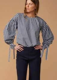 Twist and Tango Stephanie Cotton Blouse - Navy Check