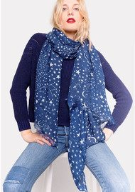 Lily and Lionel Midnight Star Silk Scarf - Blue